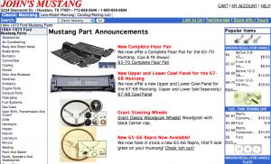 John's Mustang Website Screen Shot